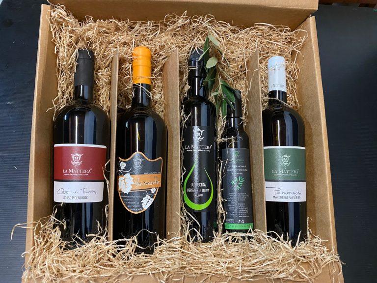 Olio Extra Vergine, Frantoio, Vini Marchigiani, Miele - Confezione scatola lamattera 2020 4